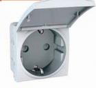 Механизм розетки 2К+З со шторками и крышкой 16А 2-мод. белый MGU3.037.18TA