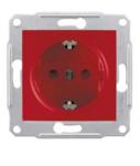 Механизм розетки (2К+З) 16A со шторками красный SDN3000341