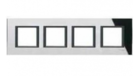 Рамка 4 поста черное зеркало MGU68.008.7C1
